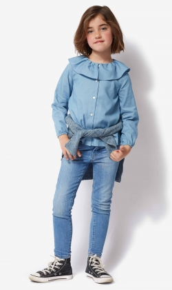 Blusa jeans volantes